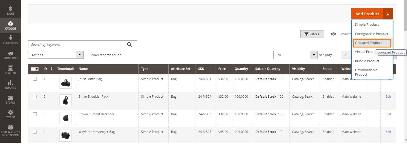 المنتجات المجمعة Grouped Products على ماجنتو 2 السعودية
