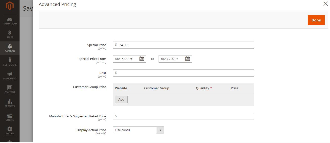 تعيين سعر خاص Special price على منتج على متجر ماجنتو 2