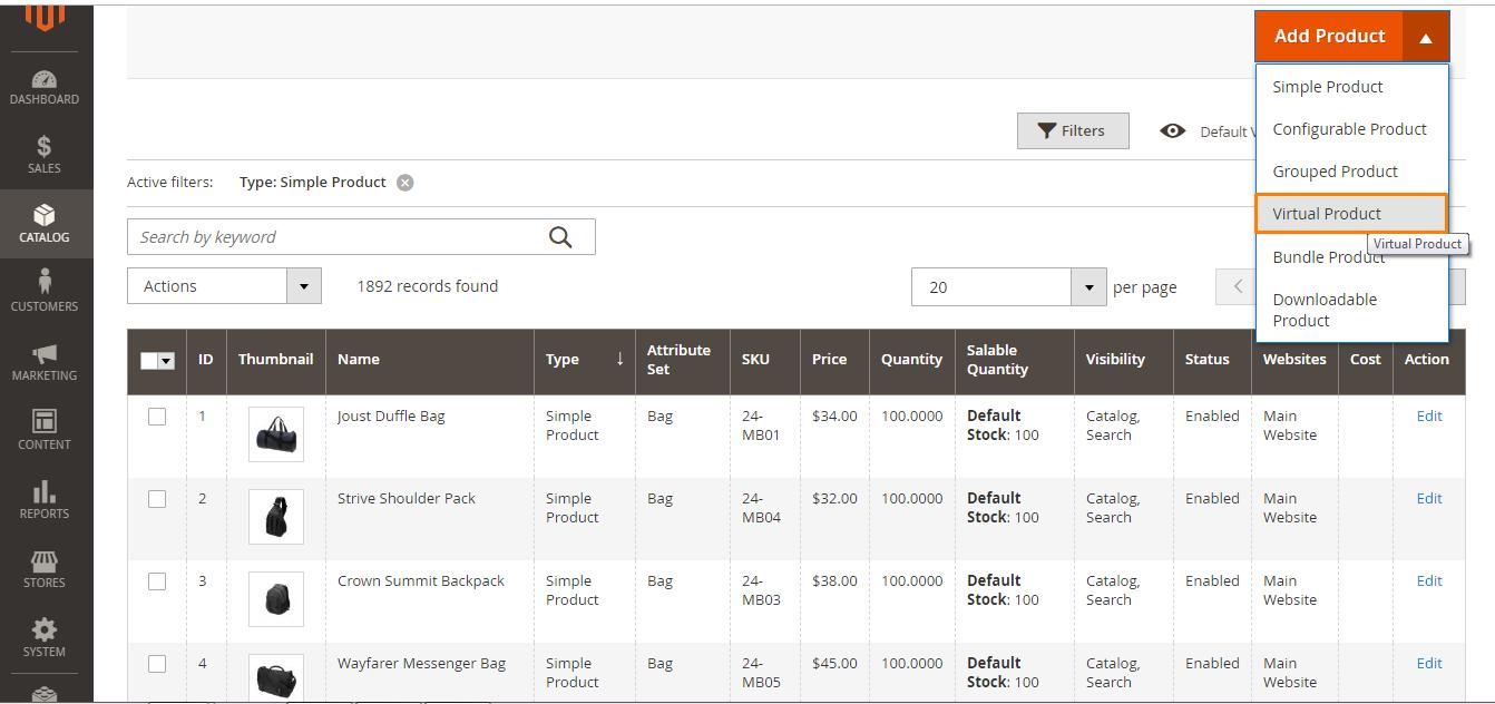 إضافة منتج افتراضي Virtual Product على متاجر ماجنتو 2 السعودية