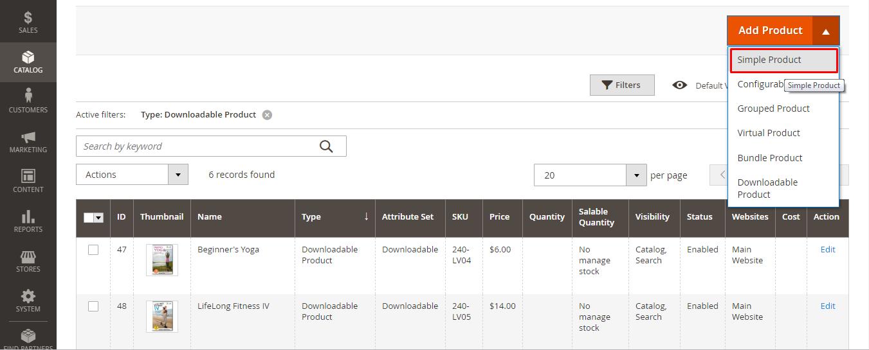 إنشاء منتج بسيط A simple product على متجر ماجنتو 2