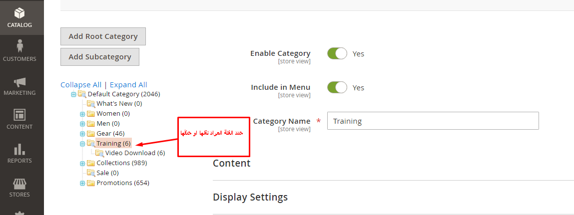 حذف ونقل فئة Category داخل متجر ماجنتو 2
