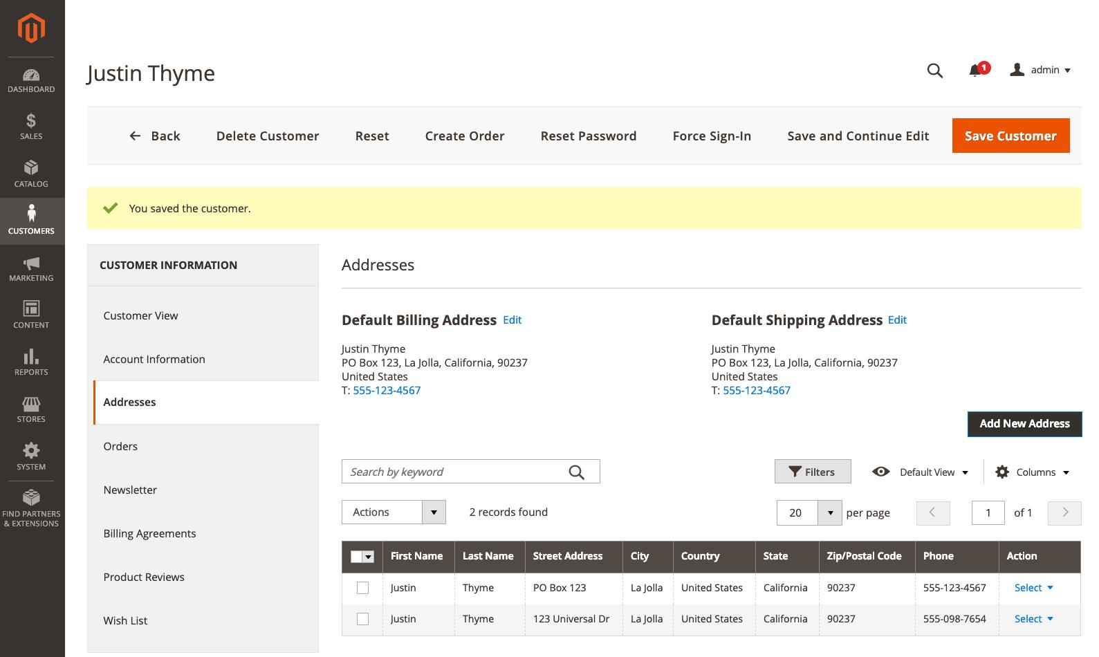 """إنشاء حساب عميل""""Customer Account"""" بواسطة مشرف المتجر""""Admin"""" على ماجنتو 2"""