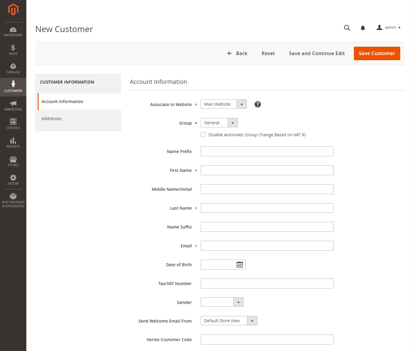 "إنشاء حساب عميل""Customer Account"" بواسطةAdmin"