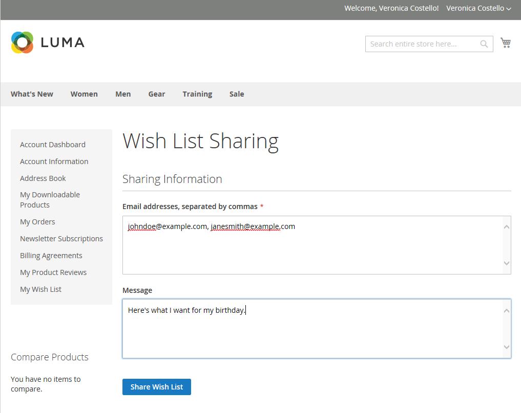 """مشاركة قائمة الرغبات """" Share The Wish list"""" على متجر ماجنتو 2"""