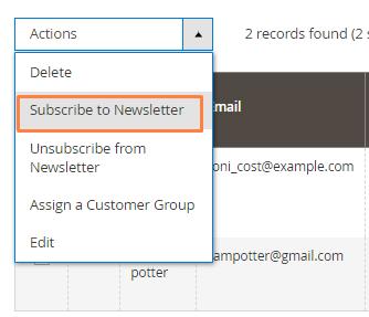 إضافة العملاء إلى القائمة البريدية Newsletter على متجر ماجنتو 2
