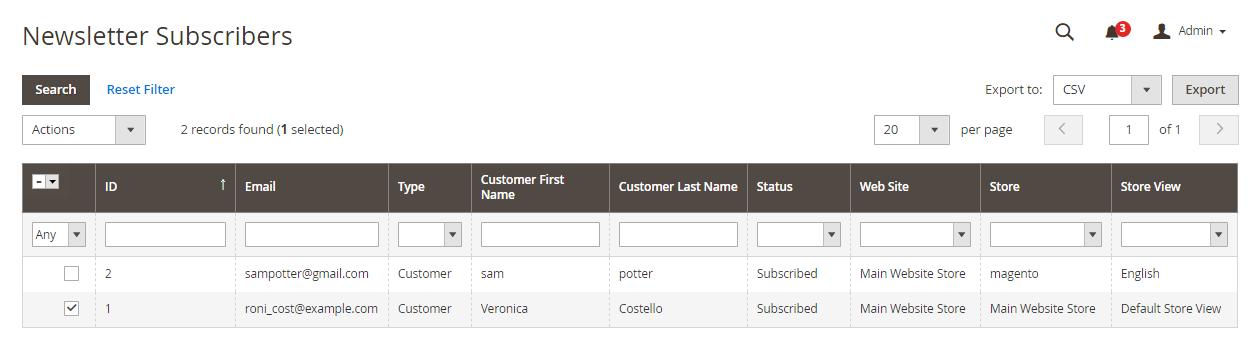 """مشتركى النشرات البريدية """"Newsletter Subscribers"""" على ماجنتو 2"""