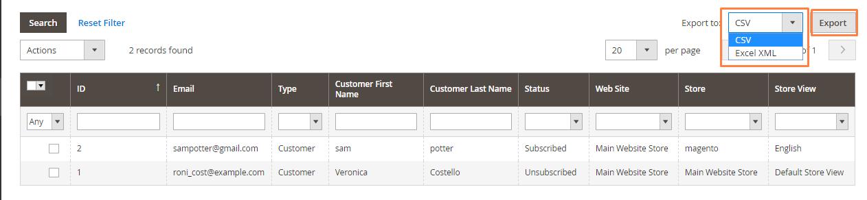"""إدارة مشتركى النشرات البريدية """"Newsletter Subscribers"""" على ماجنتو 2"""