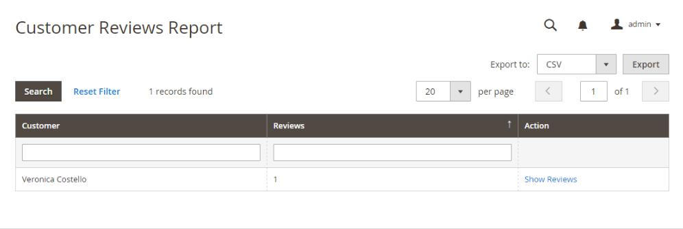 تقرير مراجعات العملاء (Customer Reviews Report) على متجر ماجنتو2 :