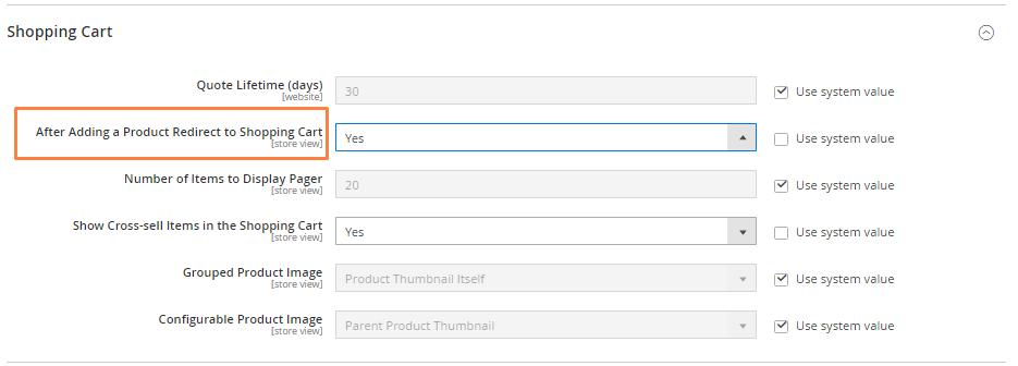 إعادة توجيه المنتجات إلى صفحة سلة التسوق (Redirect to Cart) على ماجنتو 2