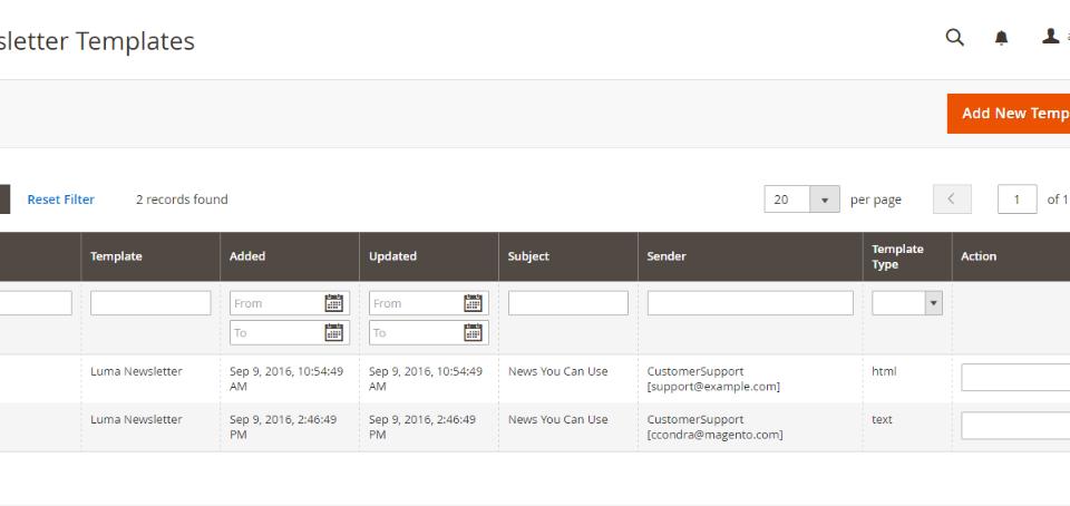إنشاء قالب نشرة بريدية (Newsletter Template) لمتجرك على ماجنتو 2