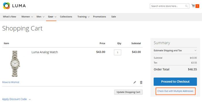 تهيئة عناوين متعددة للشحن Multiple addresses shipping على متجر ماجنتو 2