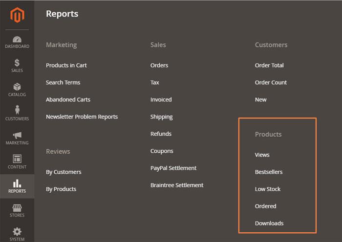 تقارير المنتجات (Products Reports )على متجر ماجنتو 2