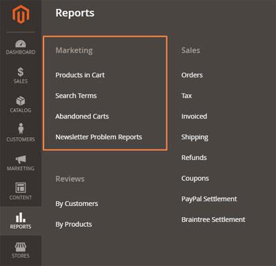تقارير التسويق (Marketing Reports) على متجر ماجنتو 2