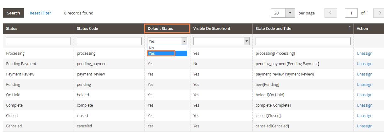 أنواع حالة الطلب Order Status Types على ماجنتو 2