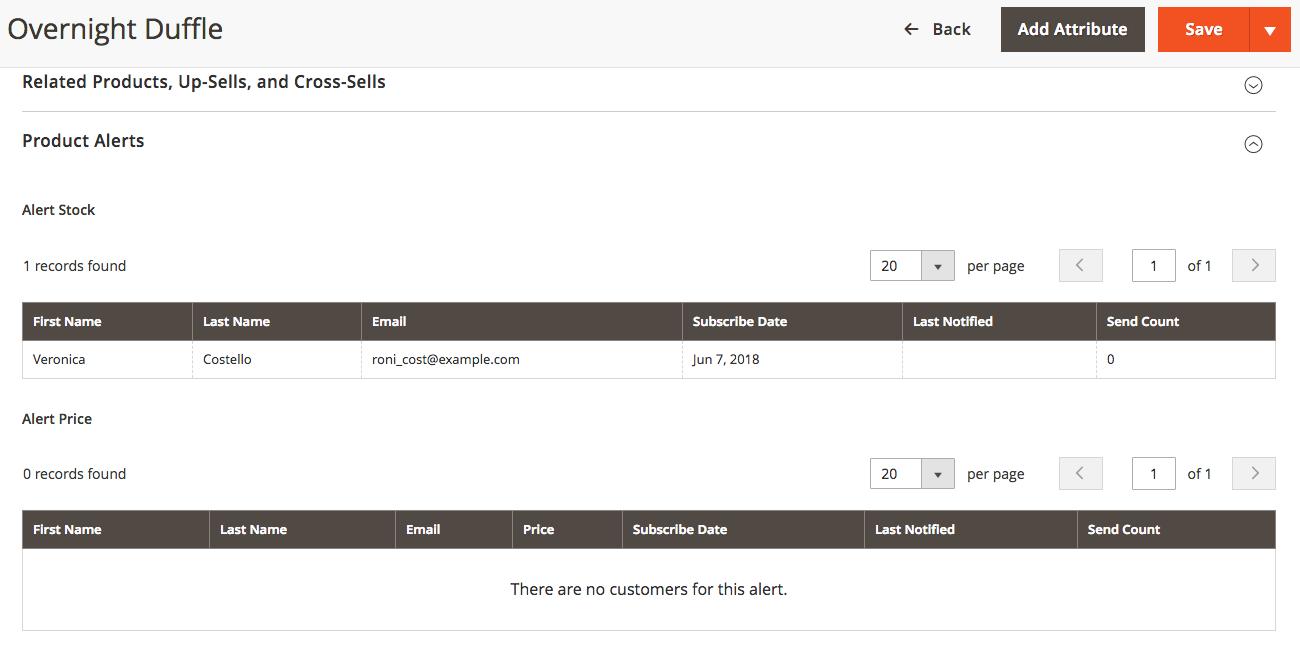 كيفية إعداد In Stock Alerts للمنتجات على ماجنتو 2