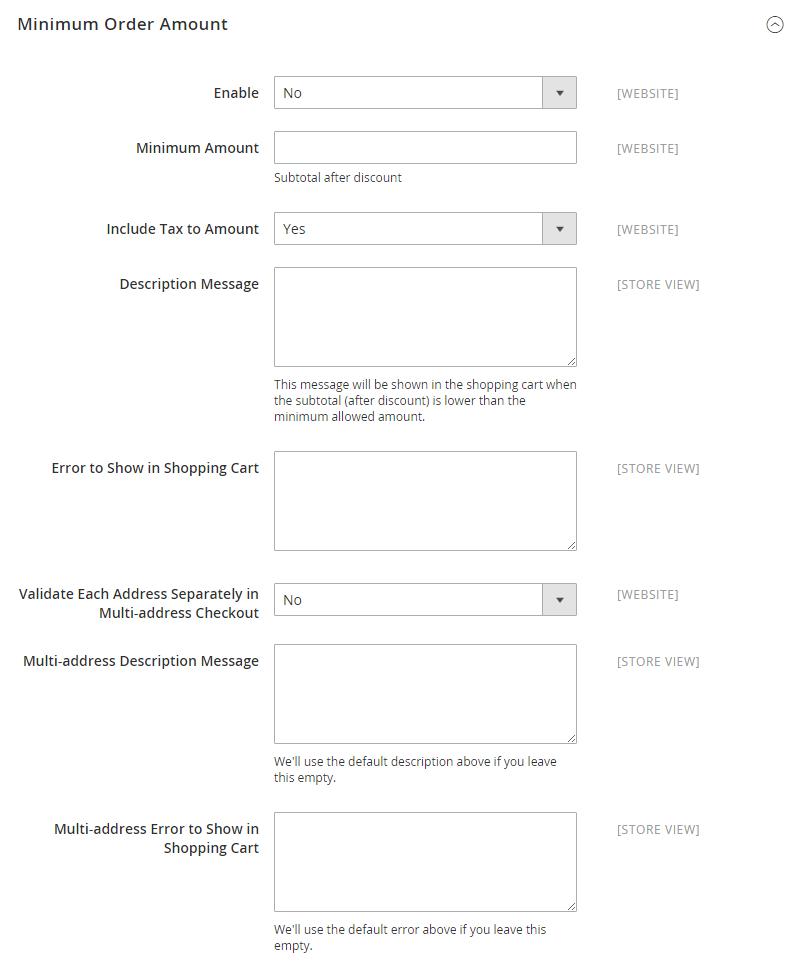 تعيين الحد الأدنى لمبلغ الطلبات Minimum Order amount على متجر ماجنتو 2