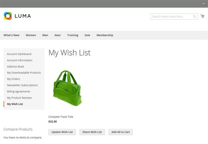 """تعيين قائمة الرغبات """"The wish list"""" على متجر ماجنتو 2"""