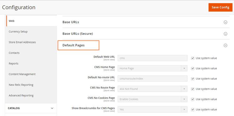إعداد الصفحات الإفتراضية (Default Pages) على ماجنتو 2