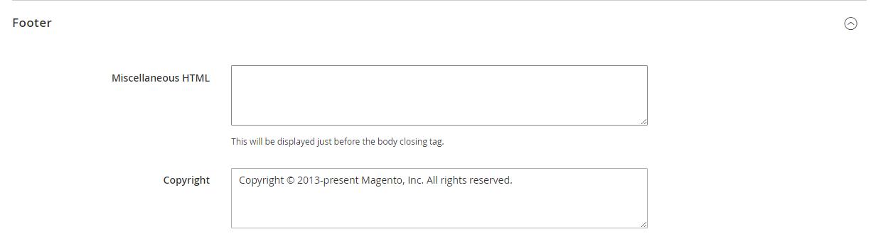 لتهيئة شكل تذييل الصفحة (Footer Configuration) على متجر ماجنتو 2