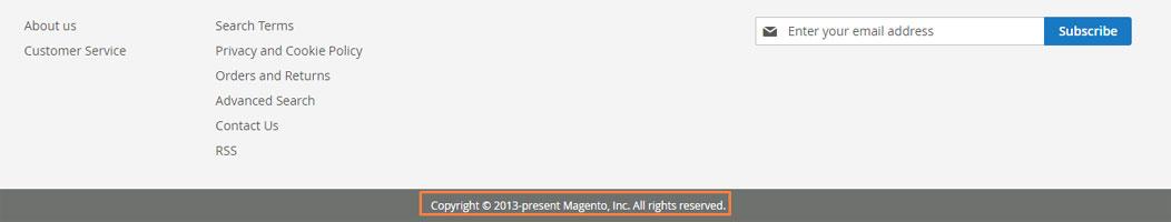 إضافة / إعداد تذييل الصفحة ( Footer) على متجر ماجنتو 2