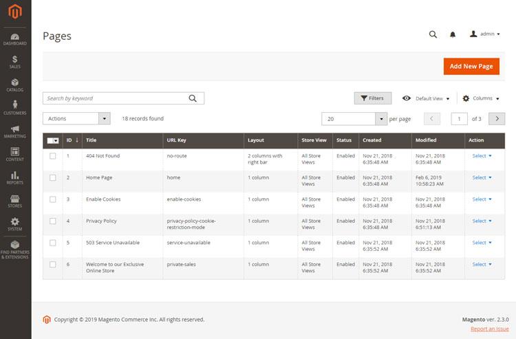 إضافة صفحة جديدة (Add New Page ) على متجر ماجنتو 2