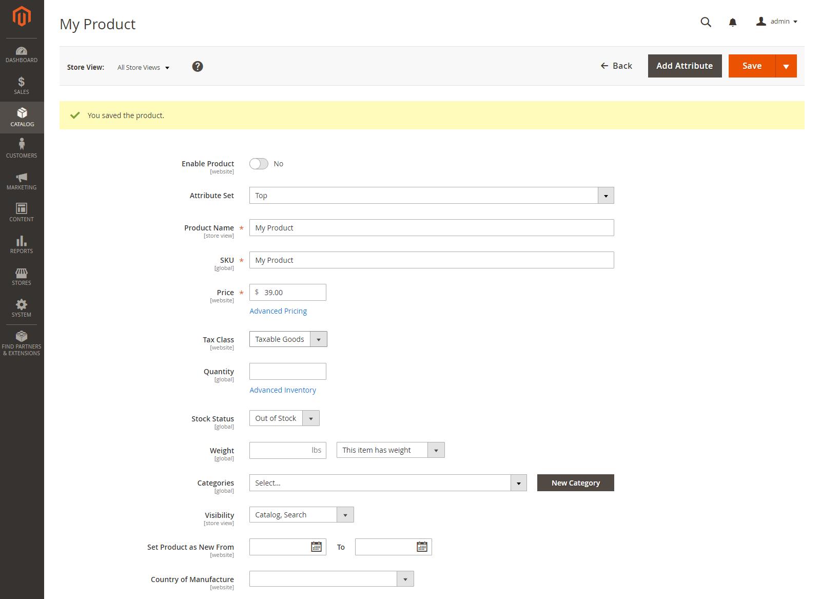 إنشاء منتج ذو خيارات متعددة (Configurable Product) على متجر ماجنتو 2