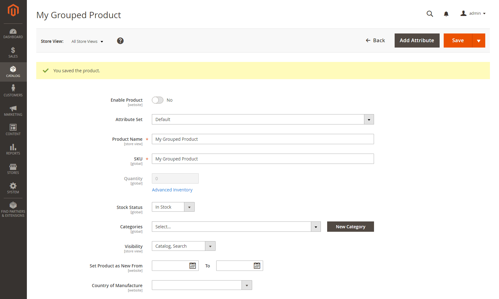إنشاء منتج مجمع Grouped Product فى ماجنتو 2