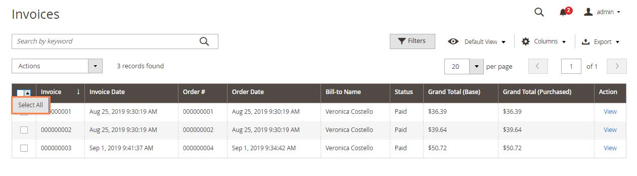 تصدير فواتير الشراء (Export Invoices) على متجر ماجنتو 2