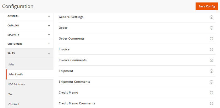 تكوين / إعداد إيميل المبيعات Sales Email فى متجر ماجنتو 2
