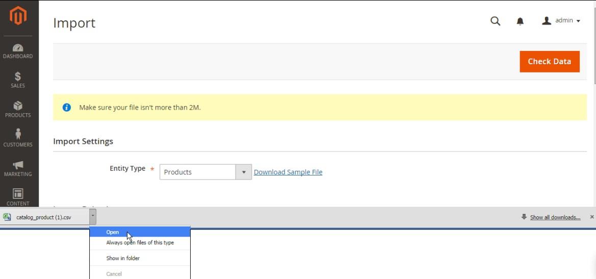 استيراد المنتجات (Import Products) على ماجنتو 2