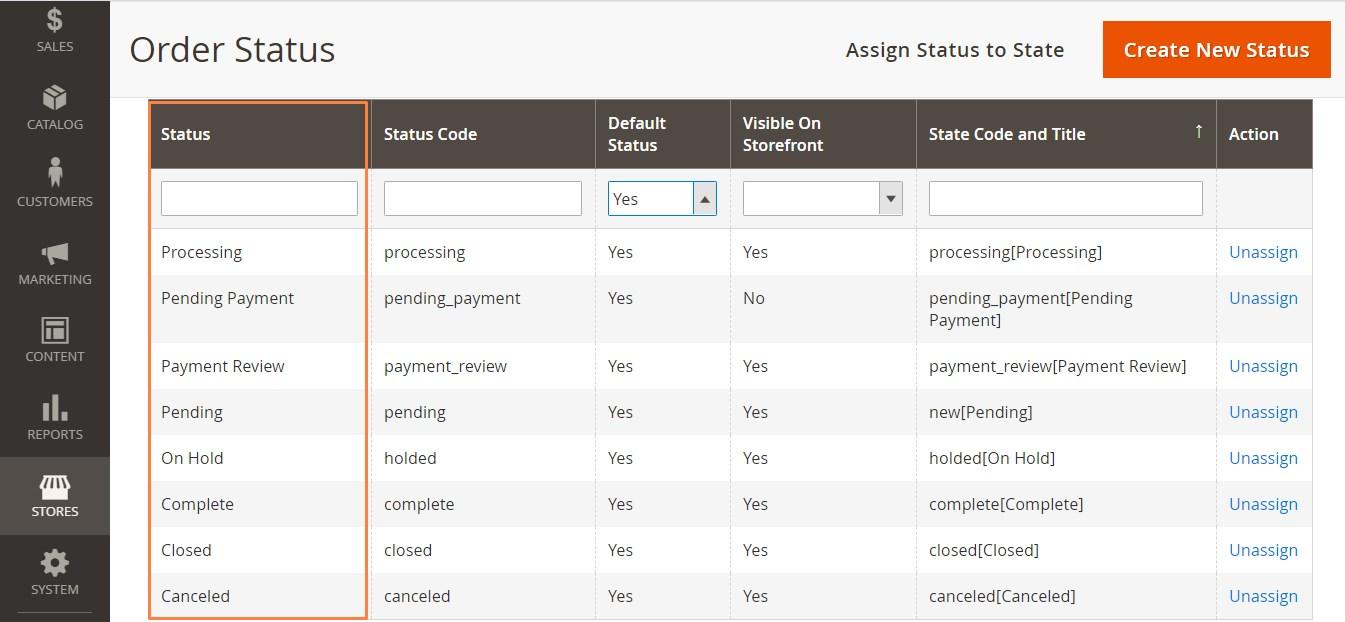 أنواع حالات الطلب Order Status Types فى متجر ماجنتو 2