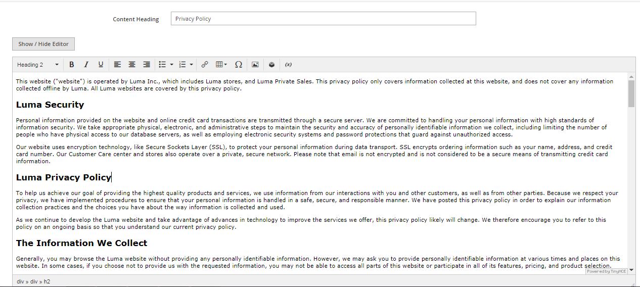 تكوين/تهيئة صفحة سياسة الخصوصية (Privacy Policy Page) فى متجر ماجنتو 2