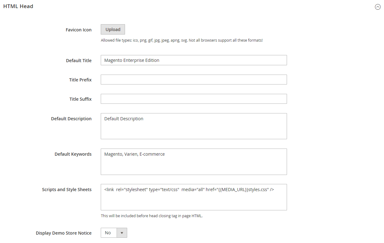 تكوين HTML Head لصفحات متجر ماجنتو 2