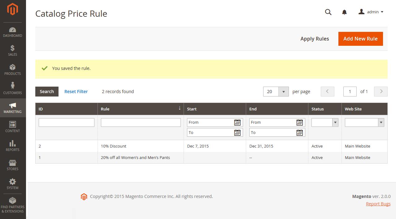إضافة / إنشاء قواعد الأسعار Catalog Price Rules فى ماجنتو 2