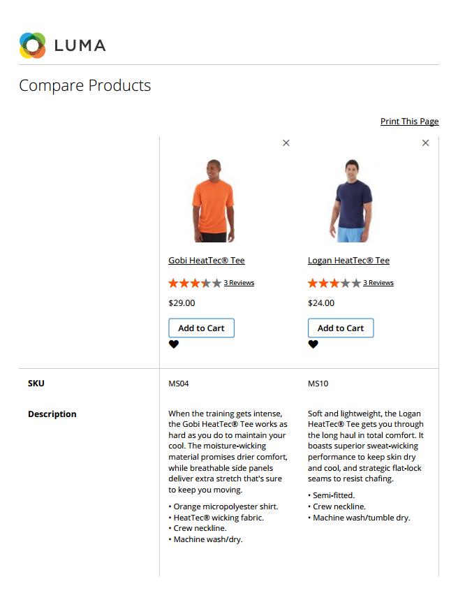 مقارنة المنتجات Compare Products على متجر ماجنتو 2