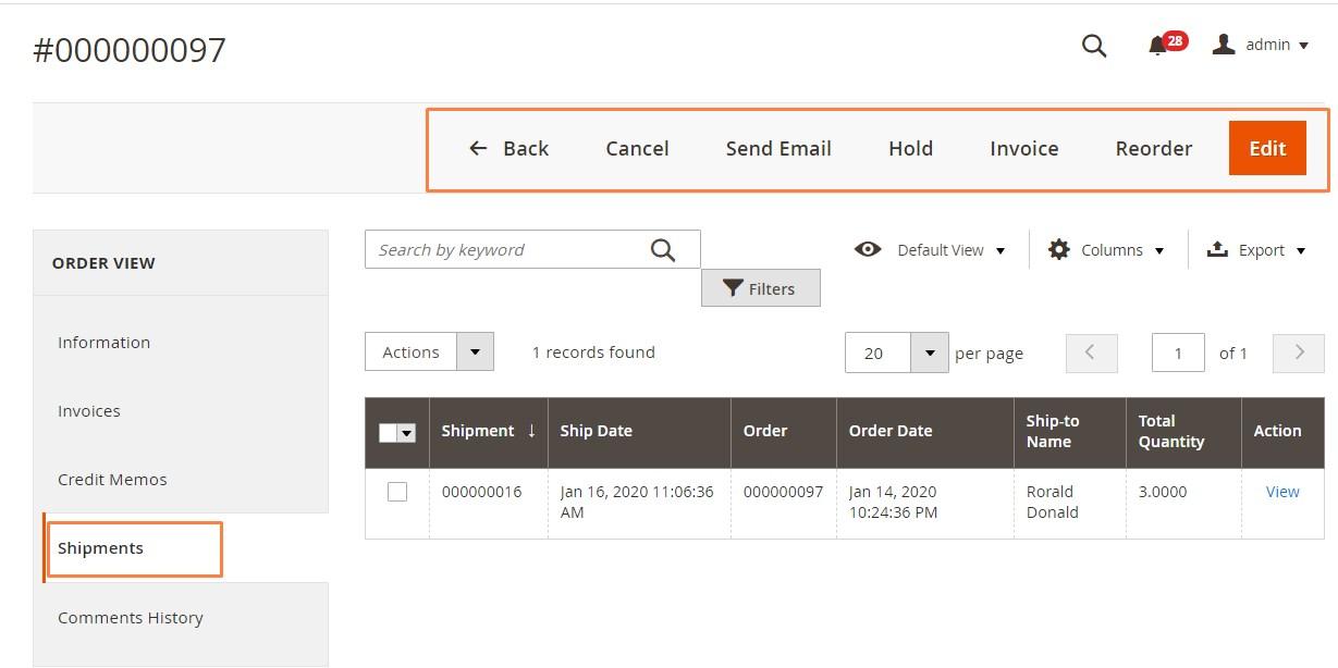 إلغاء شحنة (Canceling Shipment) فى متجر ماجنتو 2
