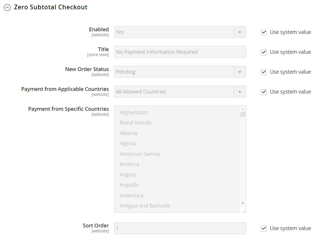 تهيئة طريقة الدفع Zero Subtotal Checkout فى متجر ماجنتو 2