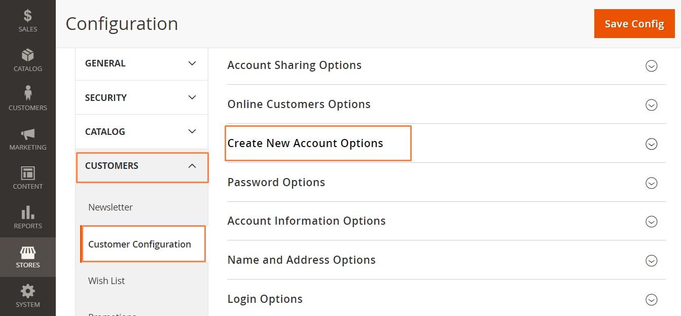 إعداد خيارات الحساب الجديد (New Account Options) فى ماجنتو 2