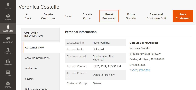 إعادة تعيين كلمة مرور العميل (Reset Password) فى ماجنتو 2