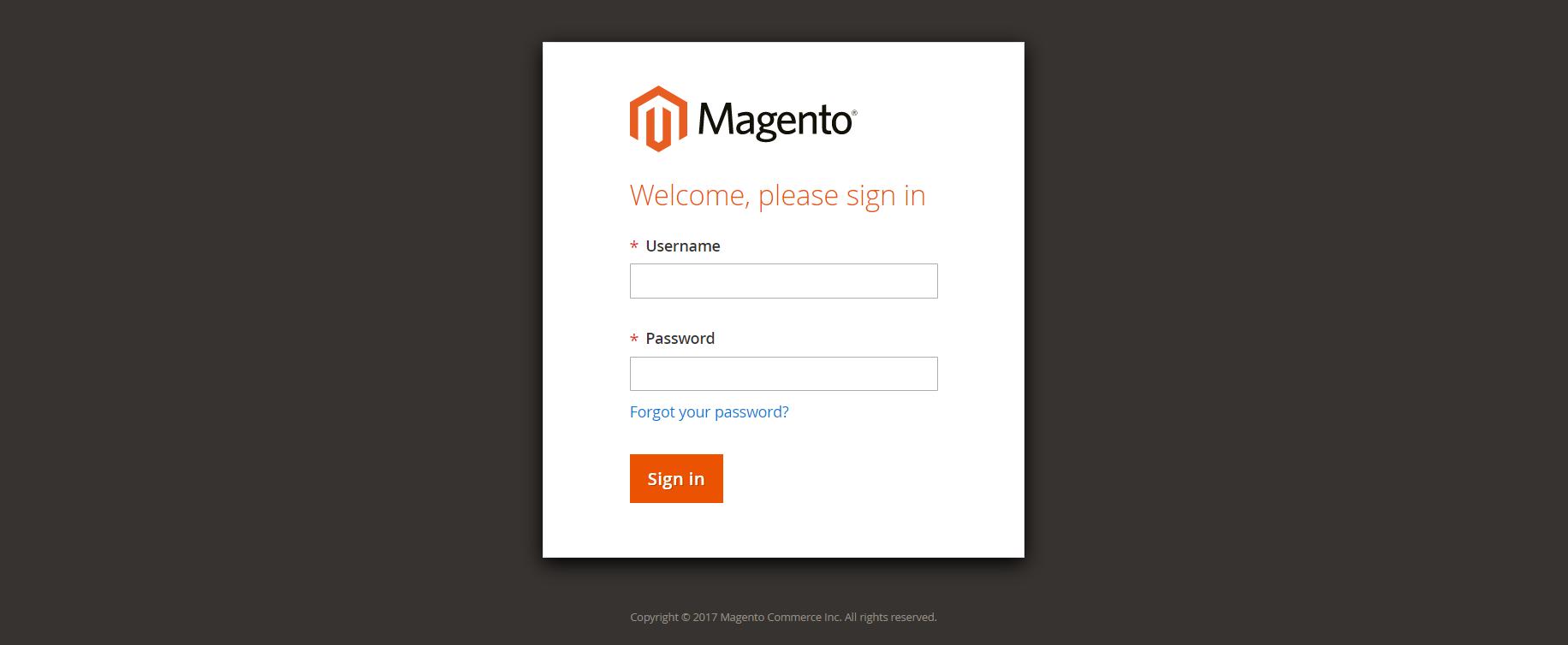 تسجيل الدخول الى لوحة التحكم (Admin Sign In) فى ماجنتو 2