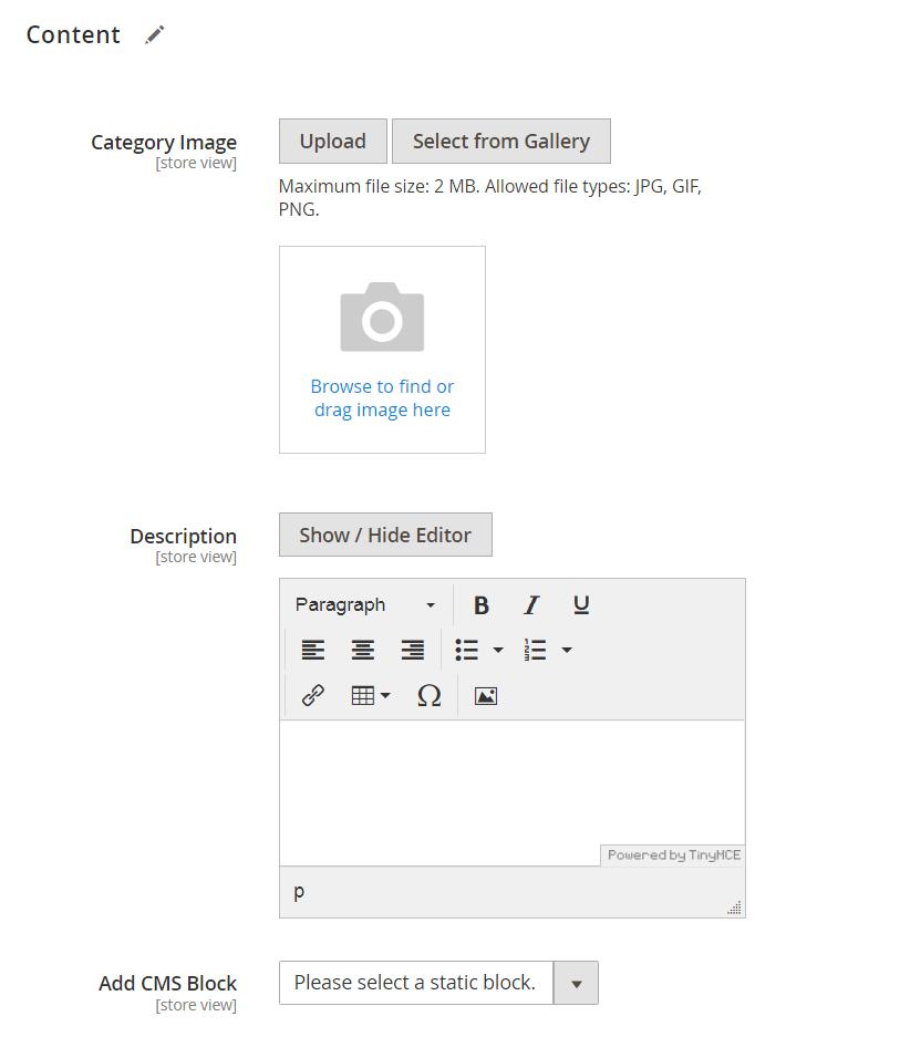 إعدادات محتوى الفئة ( Category Content Settings) فى ماجنتو 2