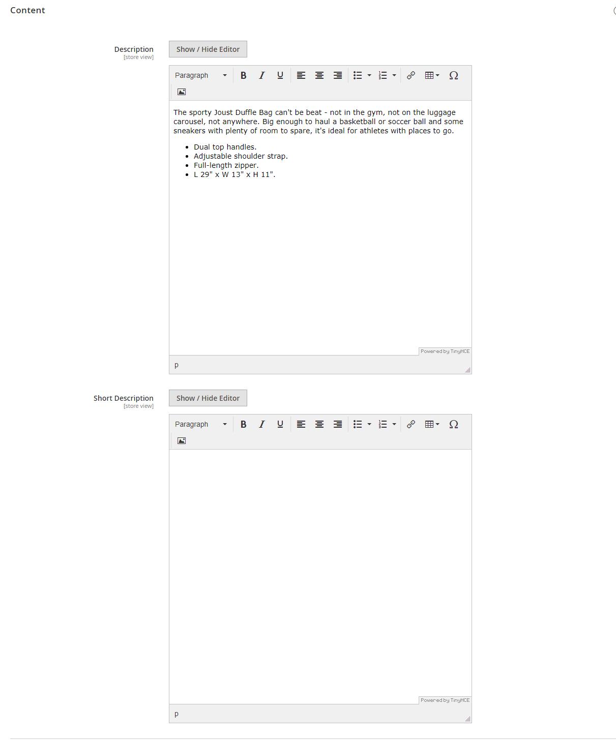 إضافة وصف لمنتج (Content) فى متجر ماجنتو 2