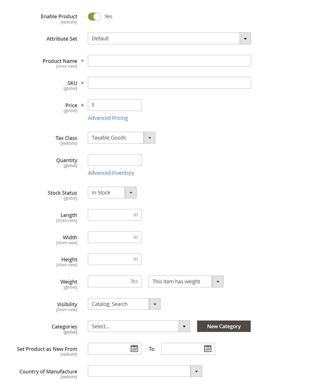 إعدادات المنتج المتقدمة (Advanced Product Settings) فى ماجنتو 2