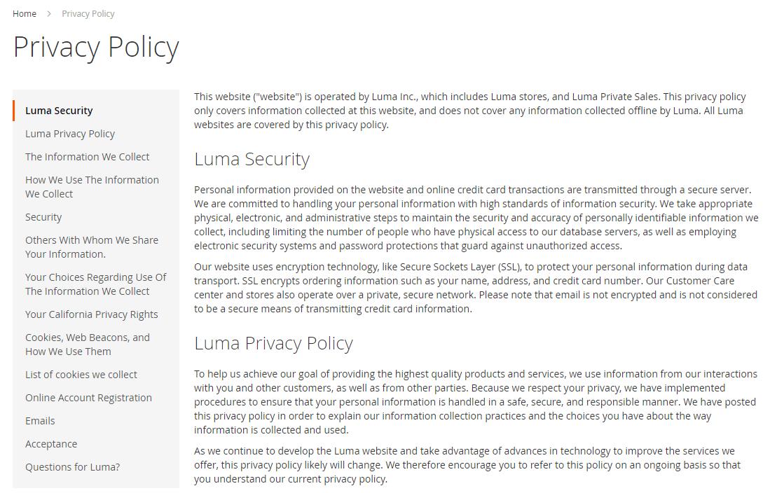 صفحات سياسة الخصوصية فى متجر ماجنتو 2