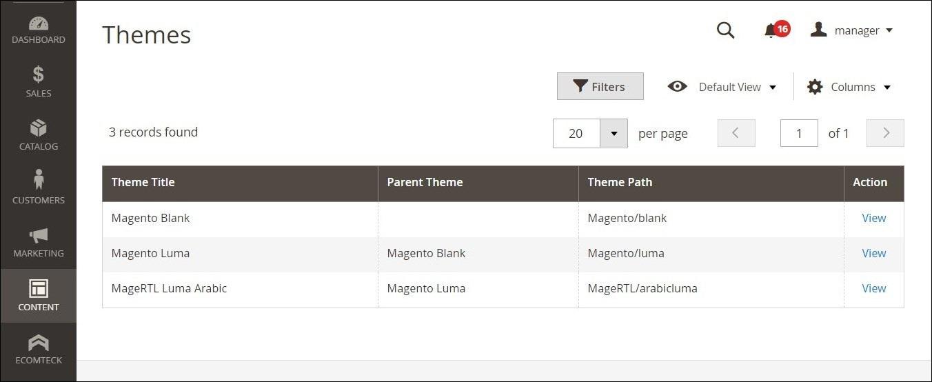 استخدام الثيمة الافتراضية (Default Theme) فى ماجنتو 2