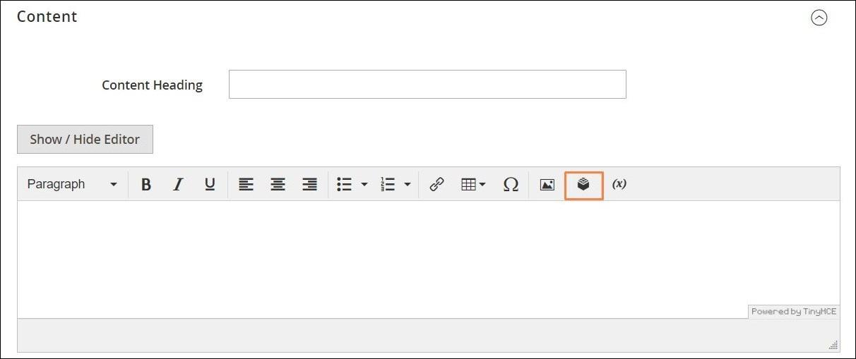 إدراج واجهة مستخدم من المحرر (Inserting a Widget) على ماجنتو 2