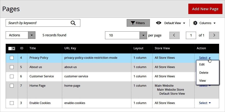 إجراءات الصفحات (Pages Actions) داخل لوحة تحكم ماجنتو 2