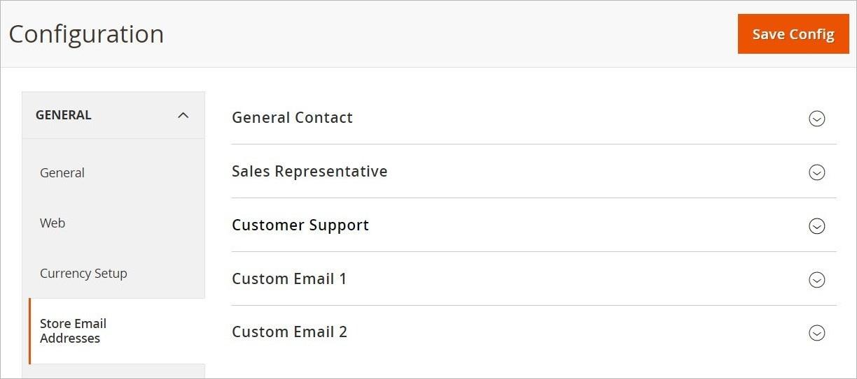 إعدادات عناوين ايميل المتجر (Store Email Addresses) فى ماجنتو 2