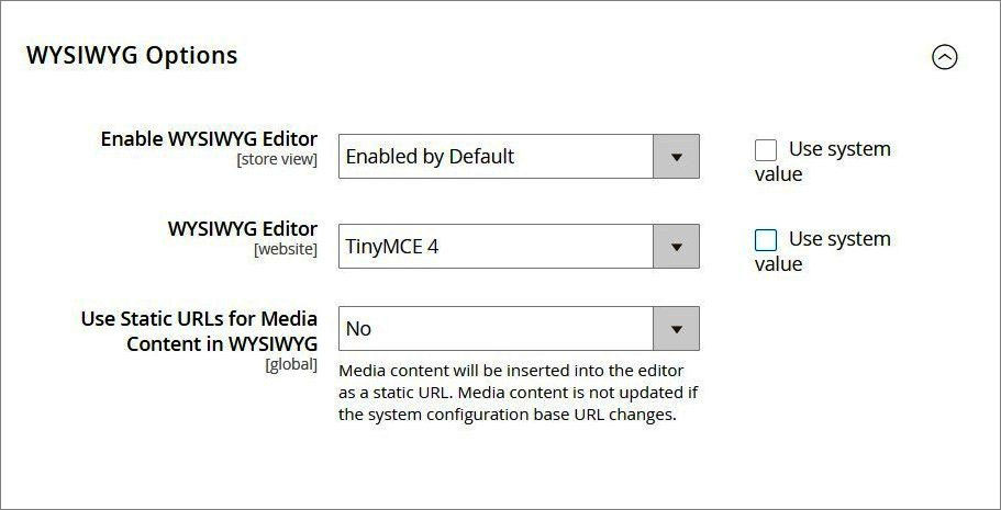 إعدادات إدارة المحتوى (Content Management) فى ماجنتو 2