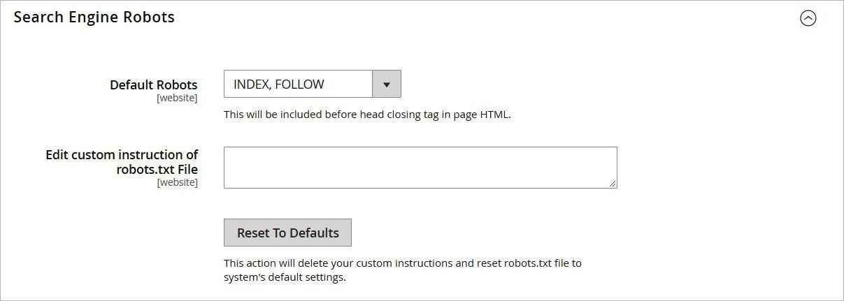 روبوتات محرك البحث (Search Engine Robots) فى ماجنتو 2